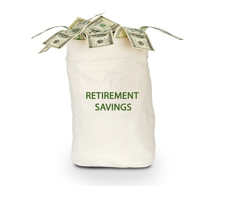 retirement savings: Bag with retirement savings