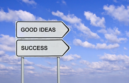 Road sign to good ideas and success photo