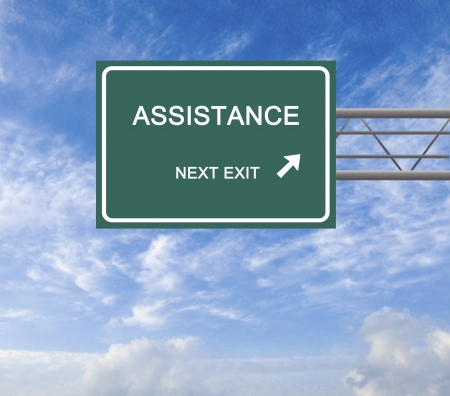 road assistance: Road sign to assistance Stock Photo