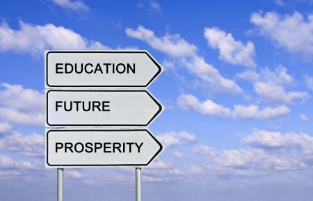 Road sign to  education,prosperity, and and future photo