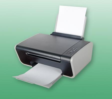 scaner: Printer isolated on green background