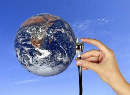un healthy: Caring for Earth Stock Photo