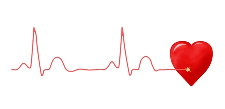 ECG graph and heart photo