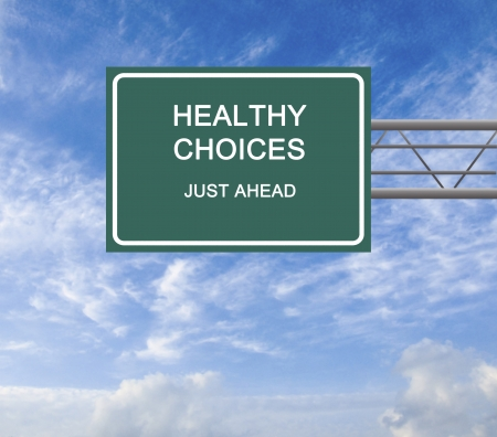 Road sign to healthy choices Stock Photo - 14942076
