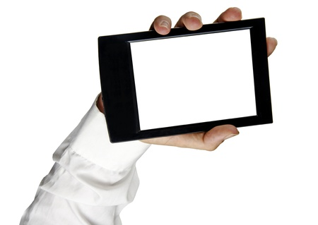 backcground: Tablet PC in hand Stock Photo