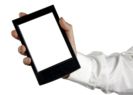 Tablet PC in hand Stock Photo