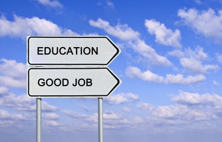 career success: Road sign to  education and good job
