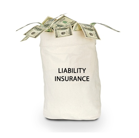 coverage: Bag with liability insurance Stock Photo
