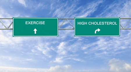 Road signs to excrcising and high cholesterol Stock Photo - 15483187