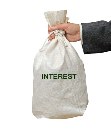 white interest rate: Bag with interest