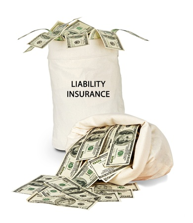 liability insurance: Bag with liability insurance Stock Photo