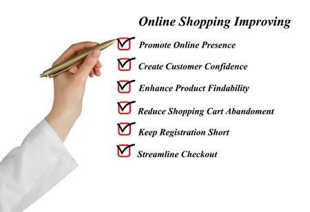 online internet presence: Online shopping improving Stock Photo