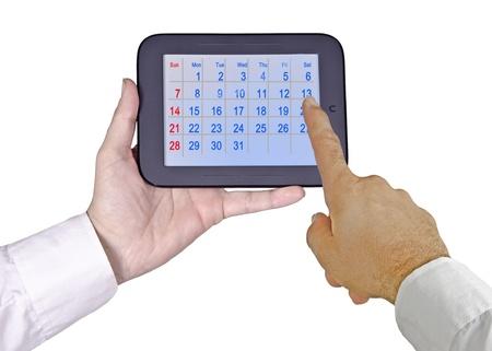 backcground: Tablet PC with calendar Stock Photo