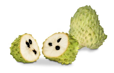 annona: Soursop sections isolated on white background  Stock Photo
