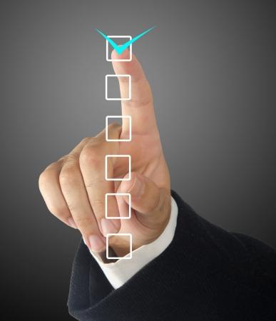 pointing finger:  checklist