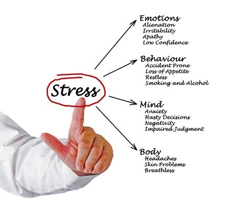 restless: Diagram of stress consequences Stock Photo