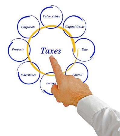 politican: Diagram of taxes Stock Photo