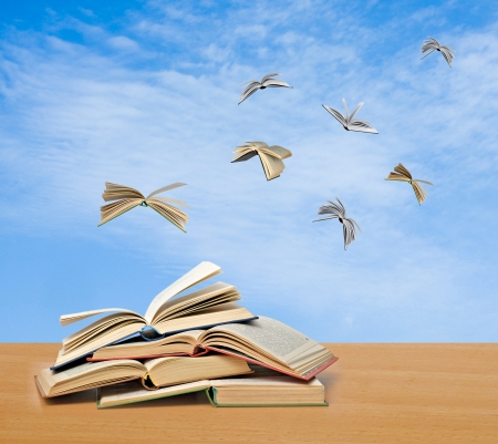 Flying books photo