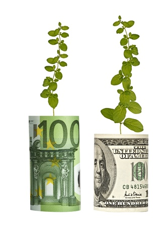 offset up: Plants growing from banknotes Stock Photo