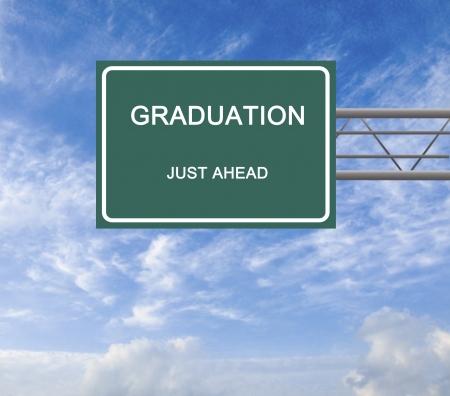 postgraduate: Road sign to graduation