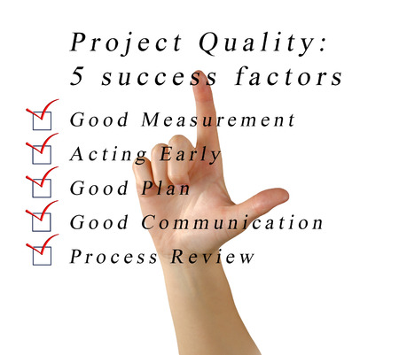 factors: 5 success factors of project Stock Photo
