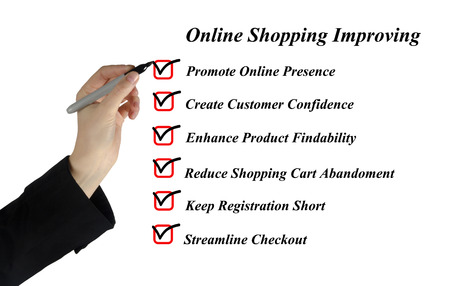 online internet presence: Online shopping improving Stock Photo