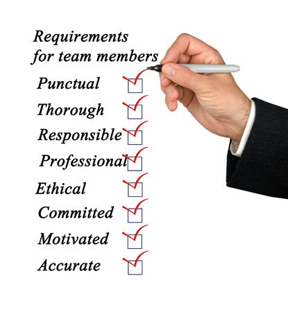 Requirements for team members Stock Photo