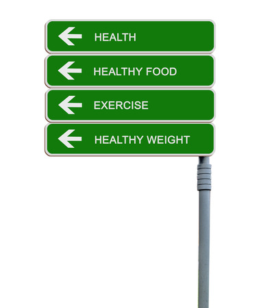 high calorie: Road sign to exercising,helthy weight,health Stock Photo