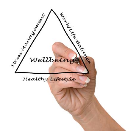 work life balance: Diagram of wellbeing Stock Photo