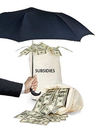 protectionism: Bag with subsidies