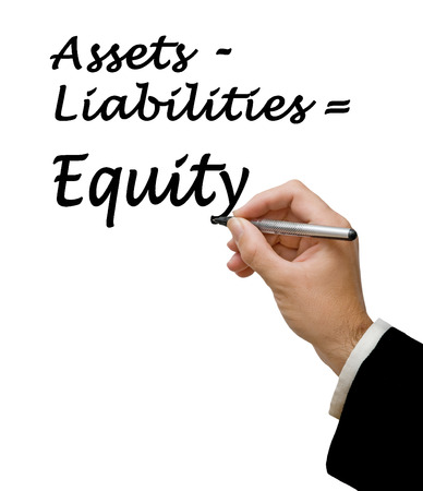 tangible asset: Diagram of Equity equation Stock Photo