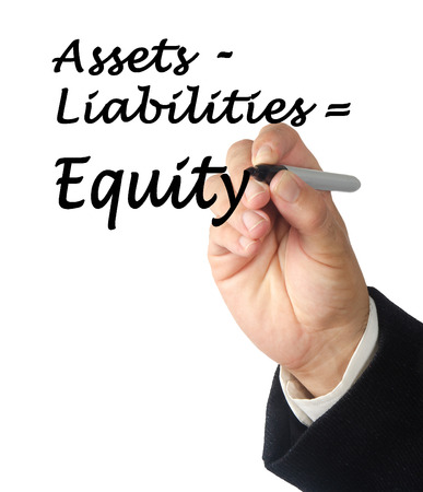 tangible asset: Equity equation Stock Photo