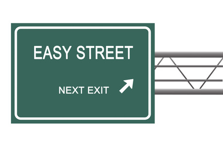 solvency: Road sign to  easy street Stock Photo