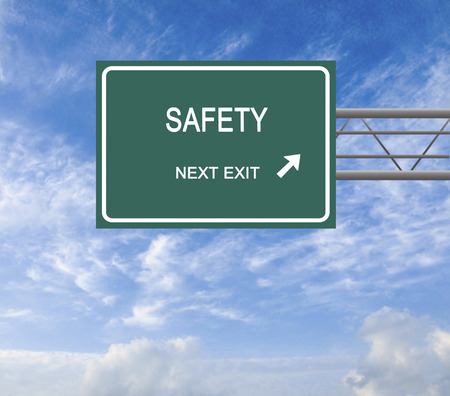deference: Road sign to safety Stock Photo
