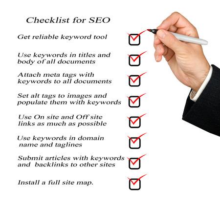 searh: Presentation of SEO checklist Stock Photo