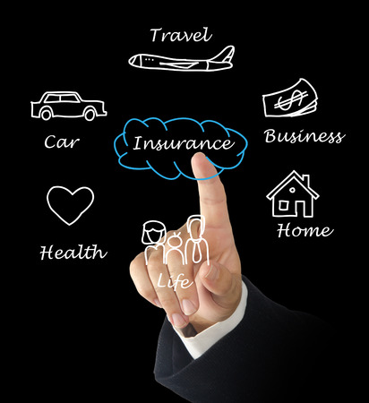 man presenting insurance diagram photo