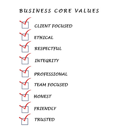 trusted: Business core values Stock Photo