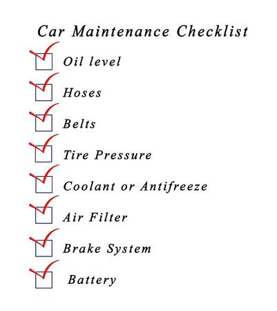 car maintenance: Car Maintenance Checklist Stock Photo