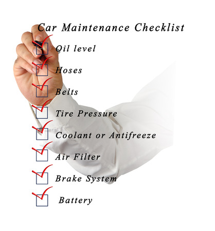 Car Maintenance Checklist Stock Photo