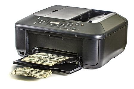 Printer printing fake dollar bills photo