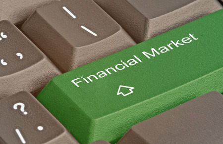 financial market: Keyboard with key for financial market Stock Photo