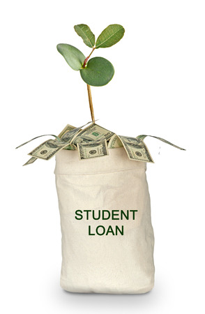 student loan: Bag with student loan