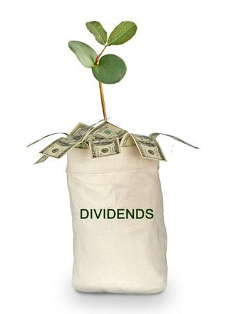 dividends: bag of dividends Stock Photo