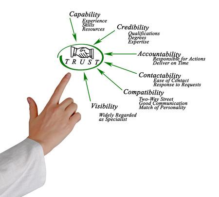 communication capability: Diagram of trust Stock Photo