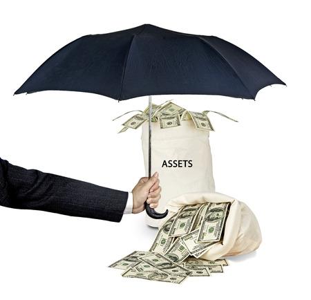 資産の保護の傘 写真素材