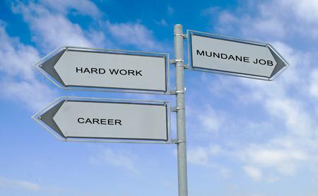 mundane: Road sign to career, success, and mundane job