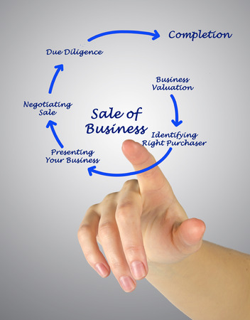 identifying: Diagram of Sale of Business Stock Photo