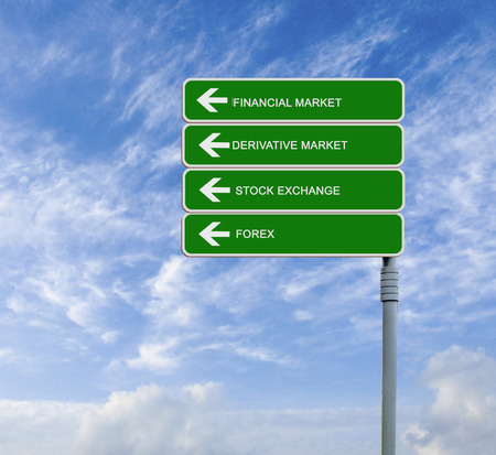derivative: Direction road sign with  words financial market, derivative market,stock exchange, and forex Stock Photo