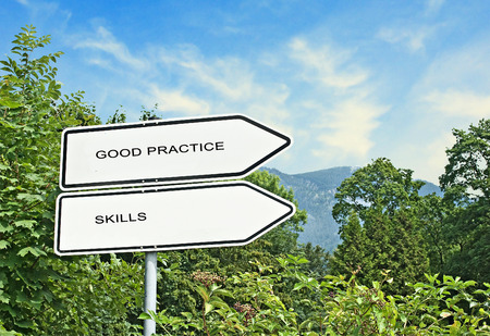 guideline: Direction road sign to good practice and skills