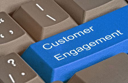 Keyboard with key for customer engagement